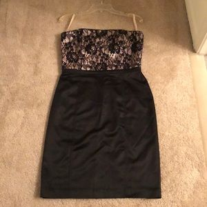 Satin and lace strapless cocktail dress